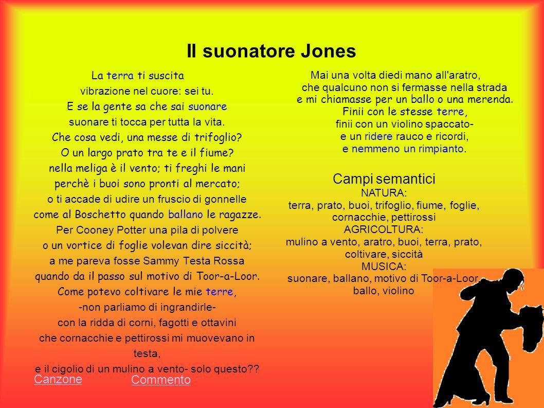 Il suonatore Jones La terra ti suscita vibrazione nel cuore: sei tu. E se la gente sa che sai suonare suonare ti tocca per tutta la vita. Che cosa ved