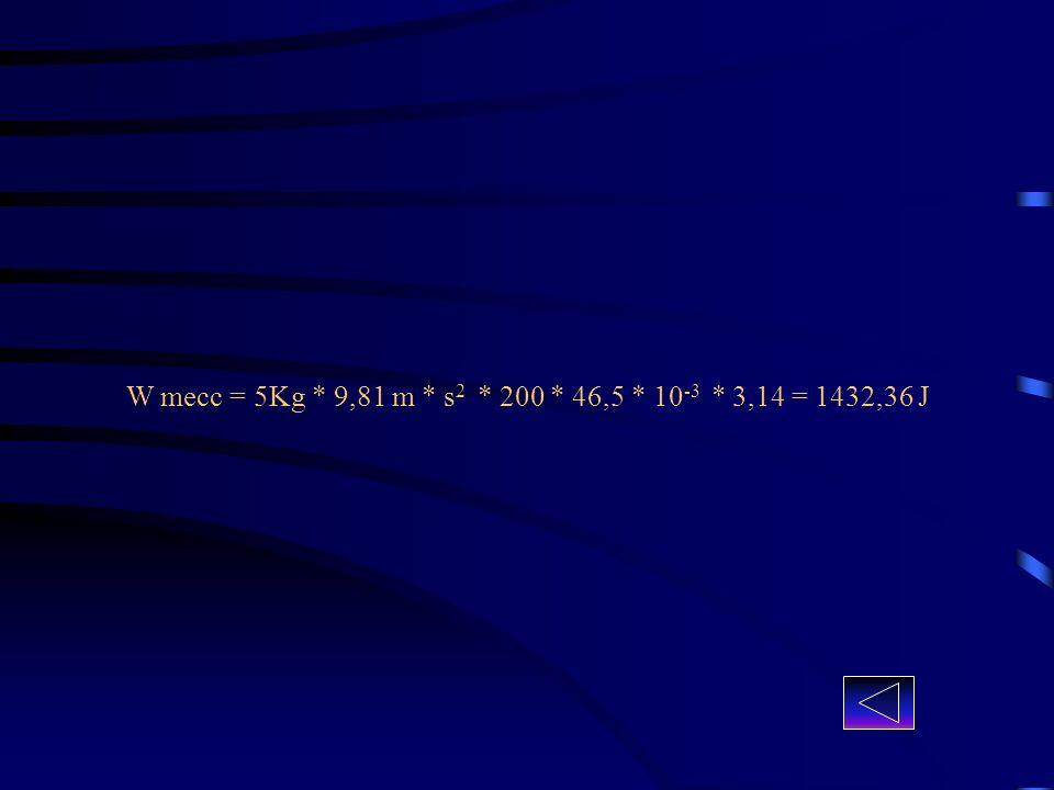 Calcolato il calore in calorie effettuiamo il rapporto tra il lavoro calcolato precedentemente e tale calore : W mecc / ( Q fin – Q iniz ) = (1432,36