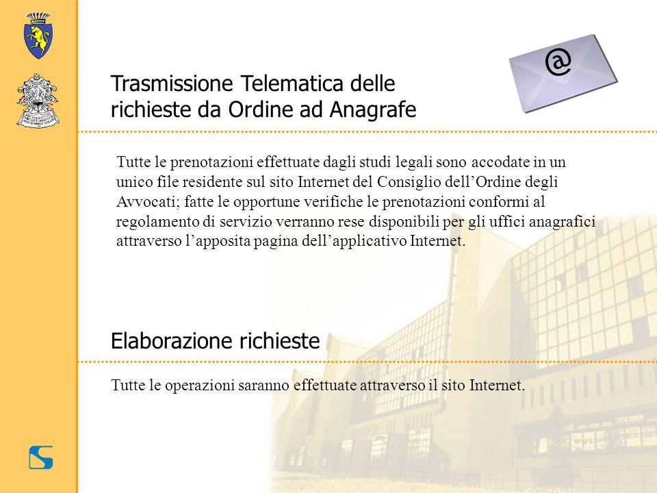 Trasmissione Telematica delle richieste da Ordine ad Anagrafe Tutte le prenotazioni effettuate dagli studi legali sono accodate in un unico file resid