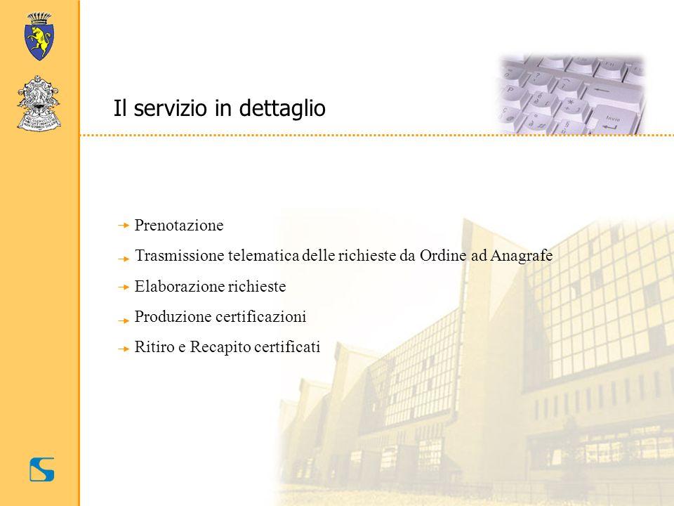 Il servizio in dettaglio Prenotazione Trasmissione telematica delle richieste da Ordine ad Anagrafe Elaborazione richieste Produzione certificazioni R