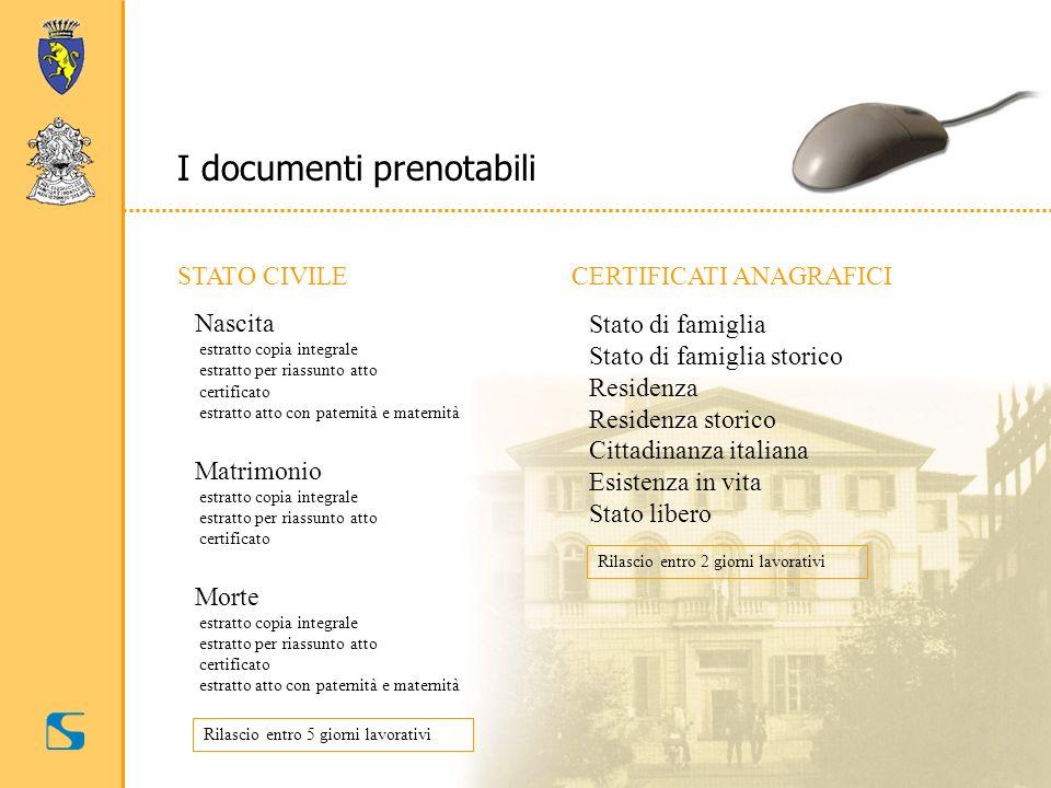 I documenti prenotabili STATO CIVILE Nascita estratto copia integrale estratto per riassunto atto certificato estratto atto con paternità e maternità