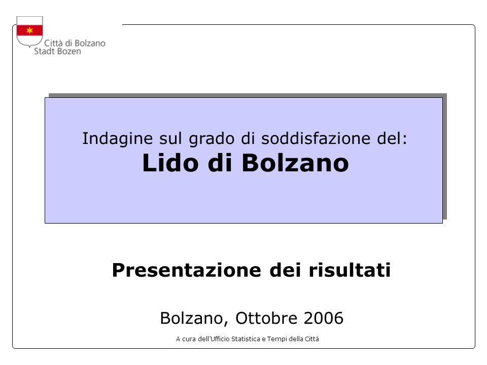 A cura dellUfficio Statistica e Tempi della Città Indagine sul grado di soddisfazione del: Lido di Bolzano Presentazione dei risultati Bolzano, Ottobr