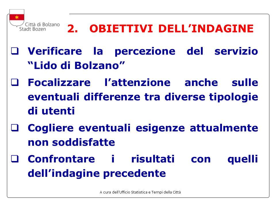A cura dellUfficio Statistica e Tempi della Città 2. OBIETTIVI DELLINDAGINE Verificare la percezione del servizio Lido di Bolzano Focalizzare lattenzi