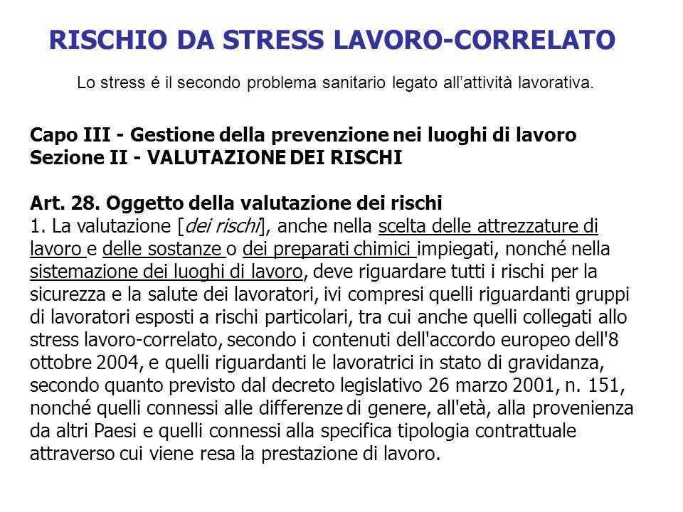 Lo stress é il secondo problema sanitario legato allattività lavorativa. Capo III - Gestione della prevenzione nei luoghi di lavoro Sezione II - VALUT
