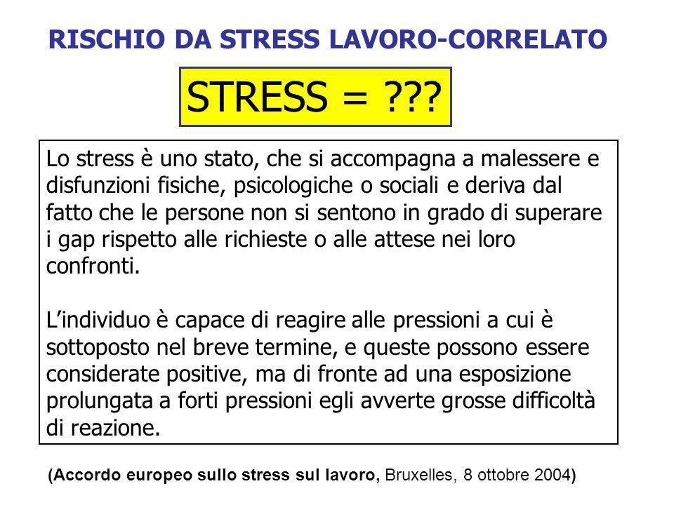RISCHIO DA STRESS LAVORO-CORRELATO STRESS = ??? Lo stress è uno stato, che si accompagna a malessere e disfunzioni fisiche, psicologiche o sociali e d