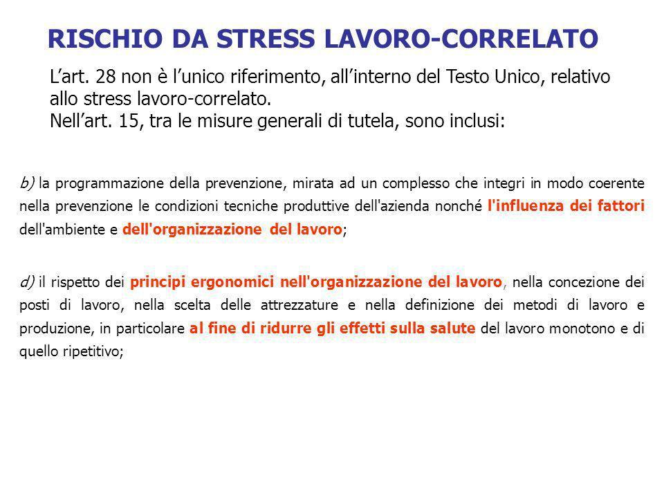 d) il rispetto dei principi ergonomici nell'organizzazione del lavoro, nella concezione dei posti di lavoro, nella scelta delle attrezzature e nella d
