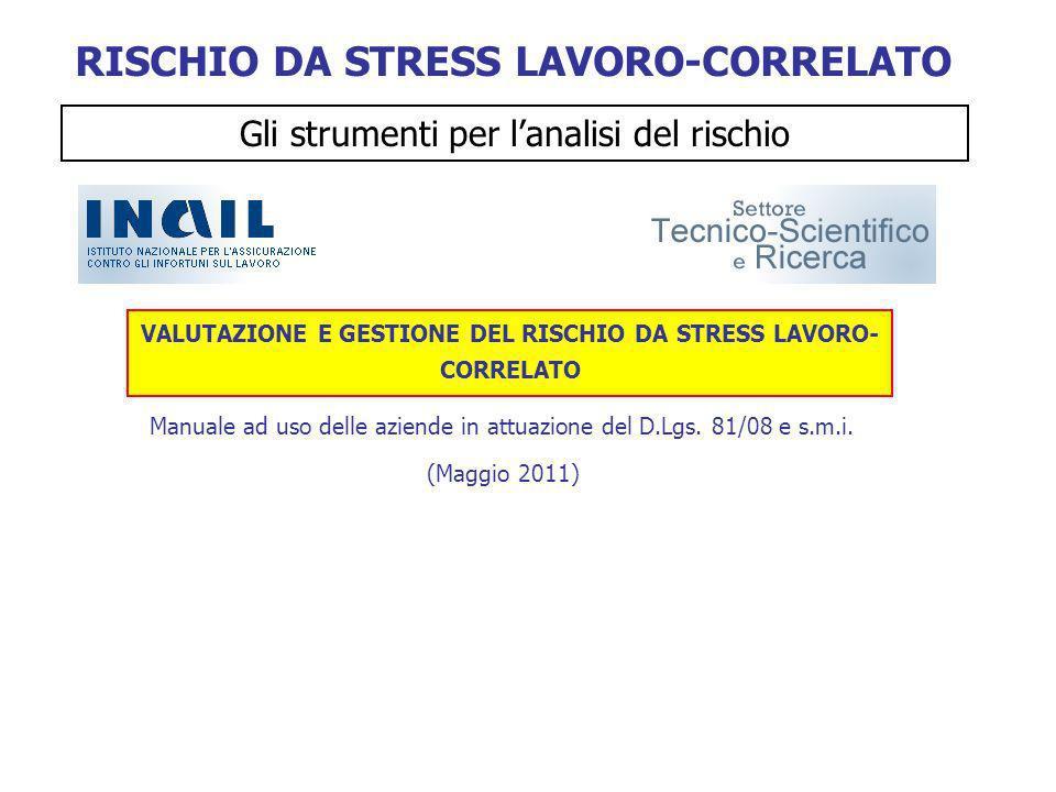 (Maggio 2011) VALUTAZIONE E GESTIONE DEL RISCHIO DA STRESS LAVORO- CORRELATO Manuale ad uso delle aziende in attuazione del D.Lgs. 81/08 e s.m.i. RISC
