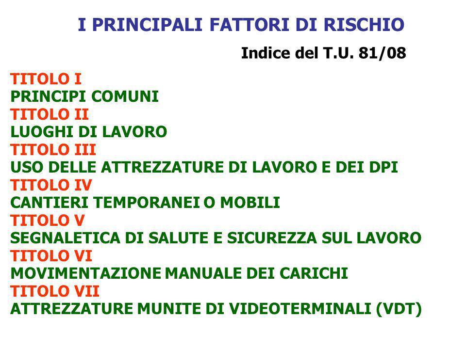 I PRINCIPALI FATTORI DI RISCHIO Indice del T.U.