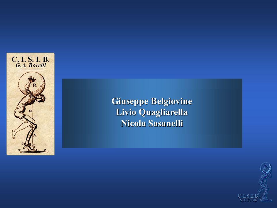Giuseppe Belgiovine Livio Quagliarella Nicola Sasanelli C. I. S. I. B. G.A. Borelli C.I.S.I.B.