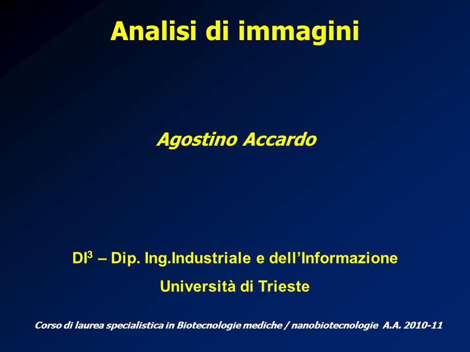 Analisi di immagini Agostino Accardo DI 3 – Dip. Ing.Industriale e dellInformazione Università di Trieste Corso di laurea specialistica in Biotecnolog