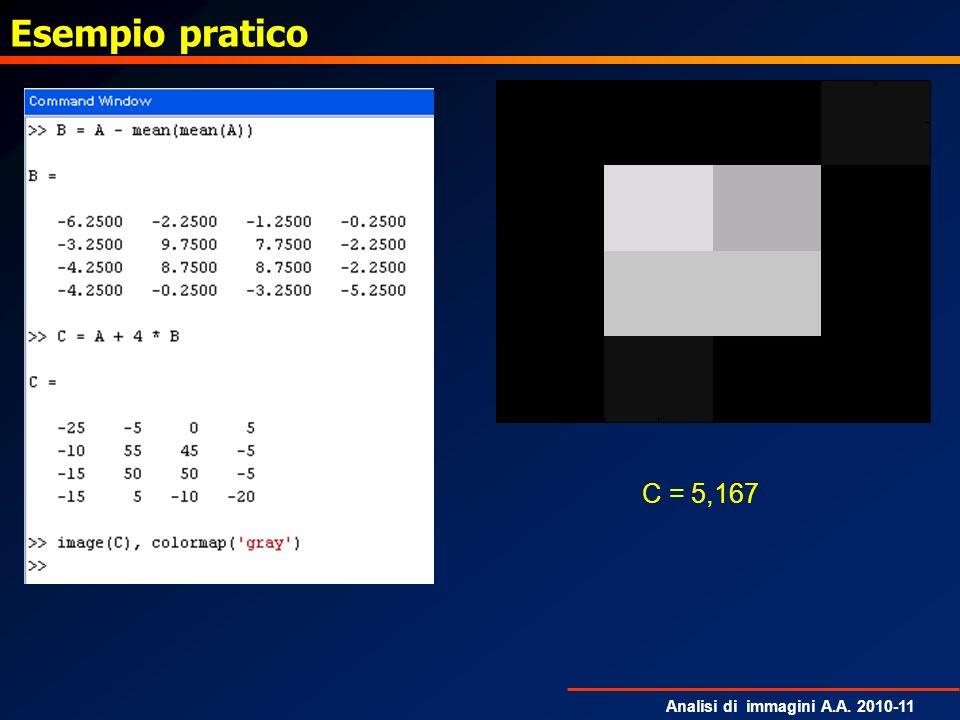 Analisi di immagini A.A. 2010-11 Esempio pratico C = 5,167