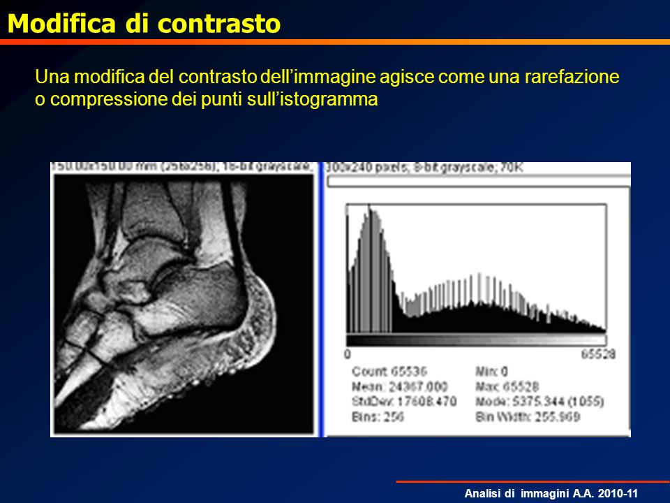Analisi di immagini A.A. 2010-11 Modifica di contrasto Una modifica del contrasto dellimmagine agisce come una rarefazione o compressione dei punti su