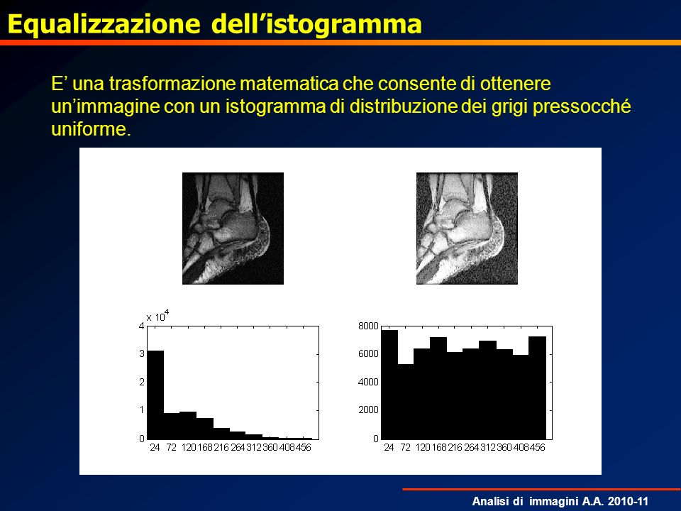 Analisi di immagini A.A. 2010-11 Equalizzazione dellistogramma E una trasformazione matematica che consente di ottenere unimmagine con un istogramma d