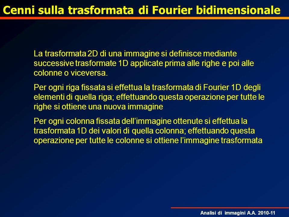 Analisi di immagini A.A. 2010-11 Cenni sulla trasformata di Fourier bidimensionale La trasformata 2D di una immagine si definisce mediante successive