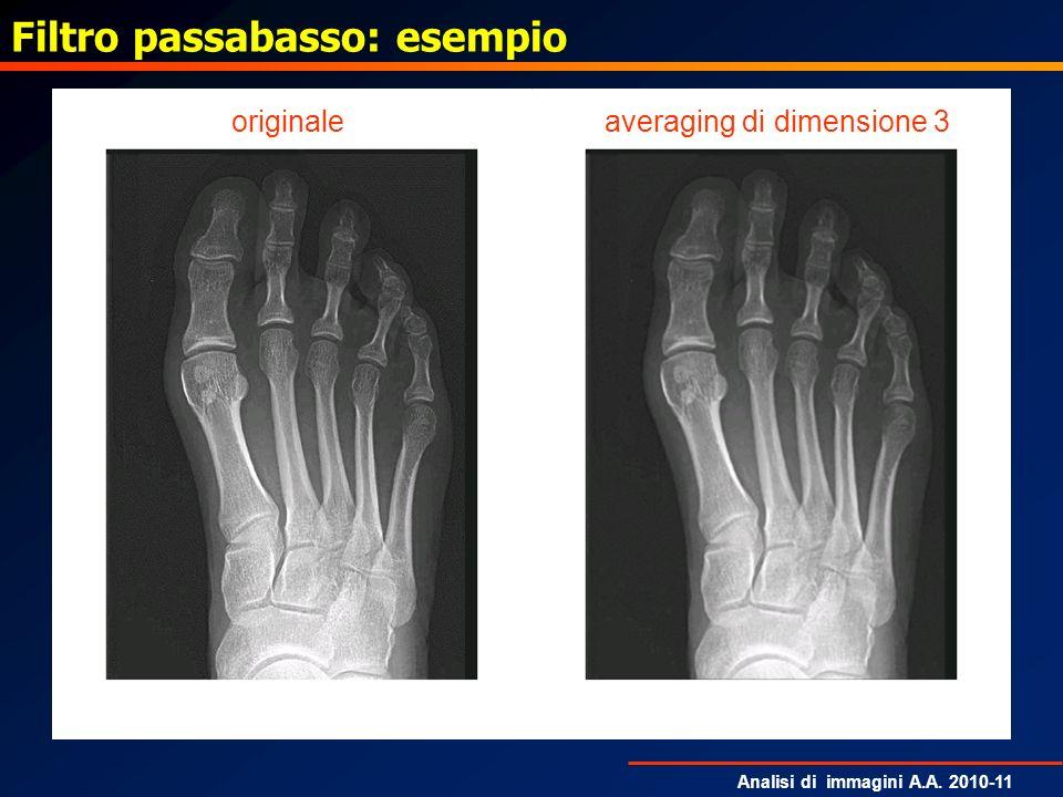 Analisi di immagini A.A. 2010-11 Filtro passabasso: esempio averaging di dimensione 3originale