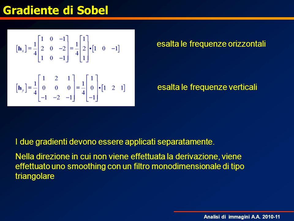 Analisi di immagini A.A. 2010-11 Gradiente di Sobel esalta le frequenze orizzontali esalta le frequenze verticali I due gradienti devono essere applic