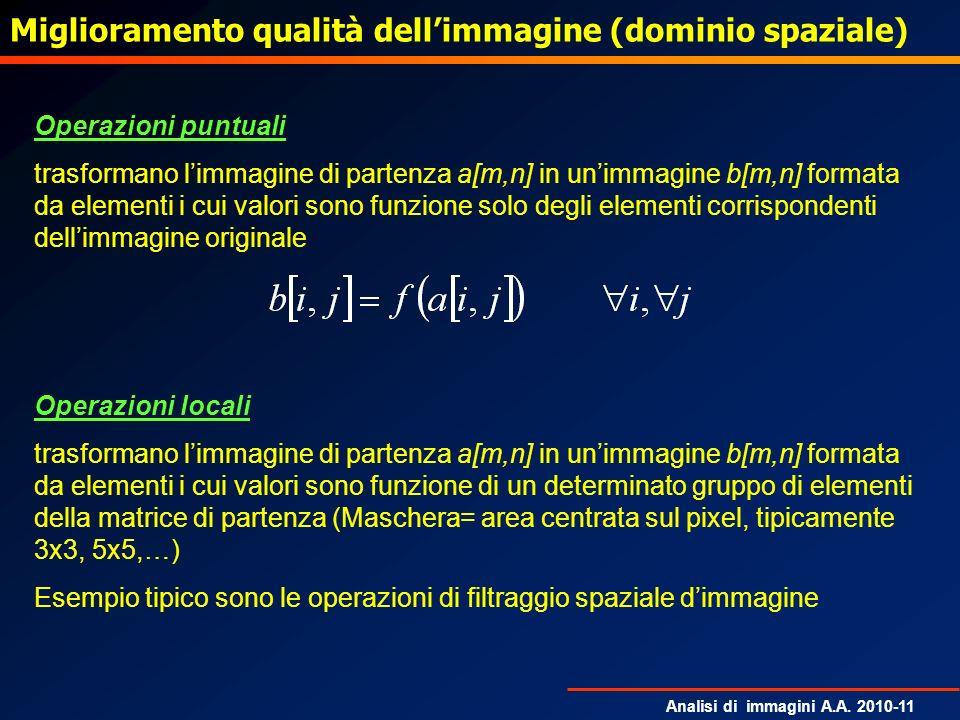Analisi di immagini A.A. 2010-11 Operazioni puntuali trasformano limmagine di partenza a[m,n] in unimmagine b[m,n] formata da elementi i cui valori so