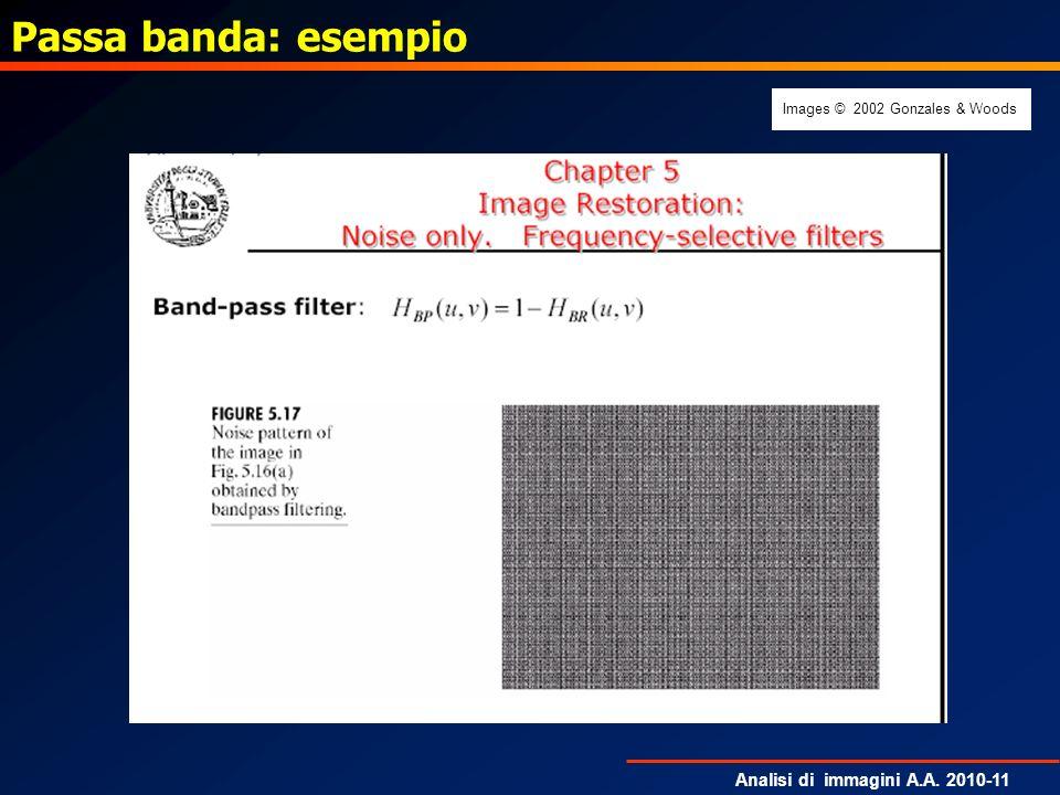 Analisi di immagini A.A. 2010-11 Passa banda: esempio Images © 2002 Gonzales & Woods