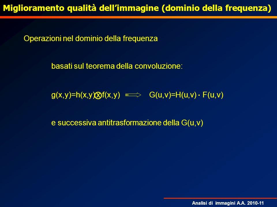 Analisi di immagini A.A. 2010-11 Operazioni nel dominio della frequenza basati sul teorema della convoluzione: g(x,y)=h(x,y) x f(x,y) G(u,v)=H(u,v). F