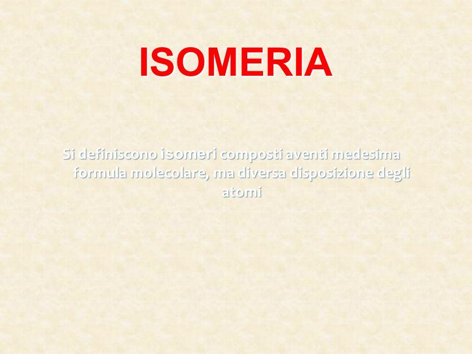 ISOMERIA Si definiscono isomeri composti aventi medesima formula molecolare, ma diversa disposizione degli atomi