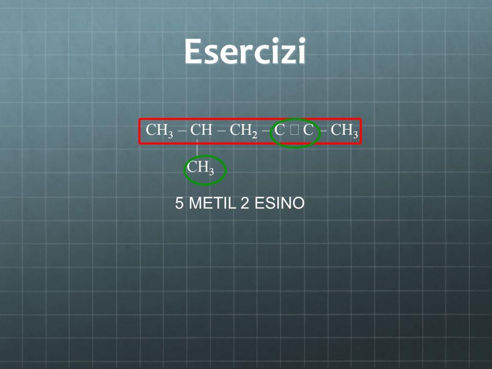 Esercizi CH 3 – CH – CH 2 – C C – CH 3 CH 3 5 METIL 2 ESINO