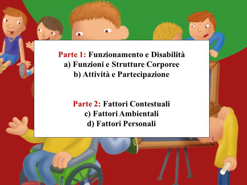 Parte 1: Funzionamento e Disabilità a) Funzioni e Strutture Corporee b) Attività e Partecipazione Parte 2: Fattori Contestuali c) Fattori Ambientali d) Fattori Personali
