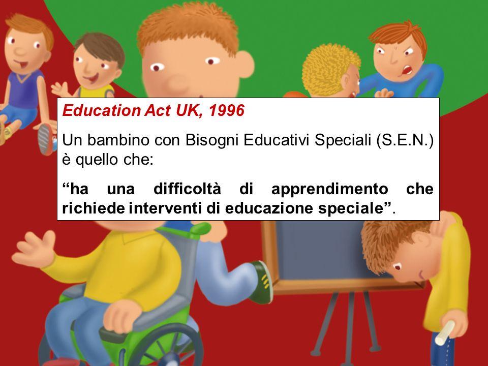 Education Act UK, 1996 Un bambino con Bisogni Educativi Speciali (S.E.N.) è quello che: ha una difficoltà di apprendimento che richiede interventi di educazione speciale.