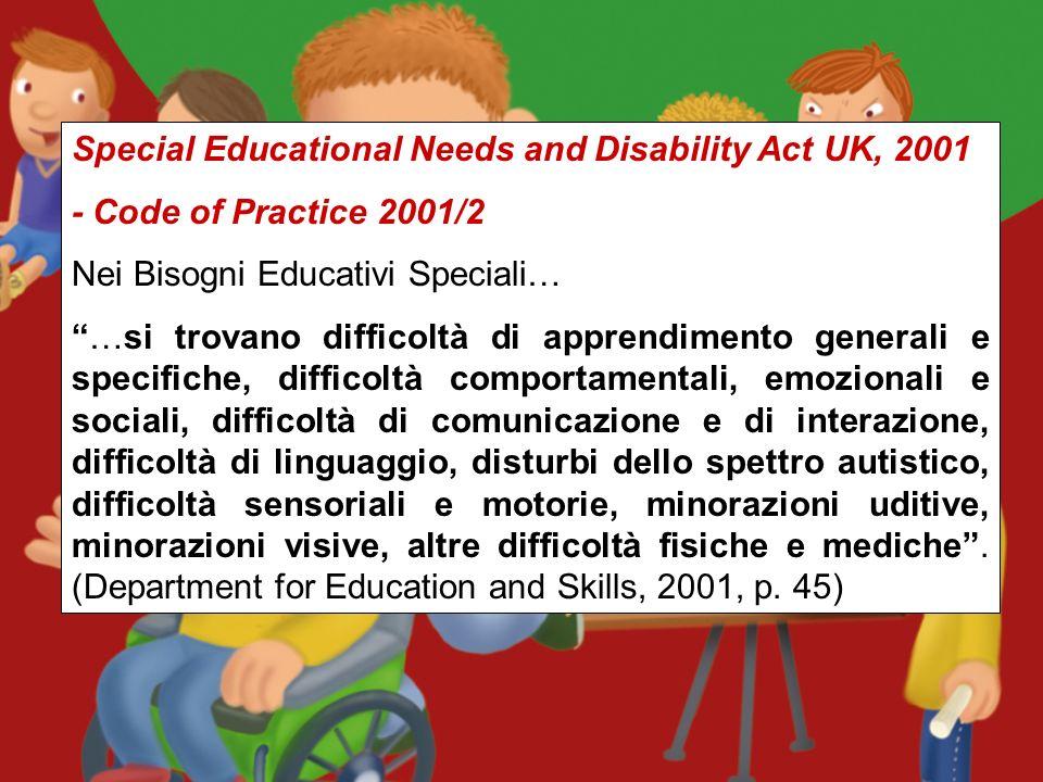 Education Act UK, 1996 Un bambino con Bisogni Educativi Speciali (S.E.N.) è quello che: ha una difficoltà di apprendimento che richiede interventi di