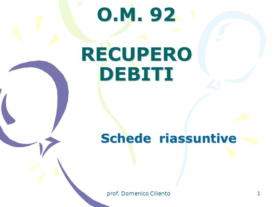 prof. Domenico Ciliento 1 O.M. 92 RECUPERO DEBITI Schede riassuntive