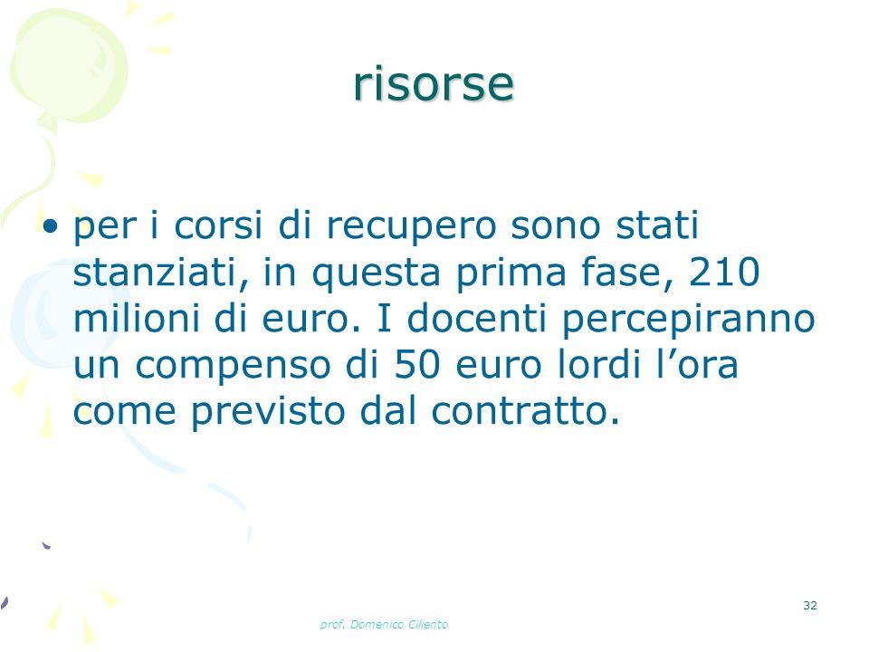 prof. Domenico Ciliento 32 risorse per i corsi di recupero sono stati stanziati, in questa prima fase, 210 milioni di euro. I docenti percepiranno un