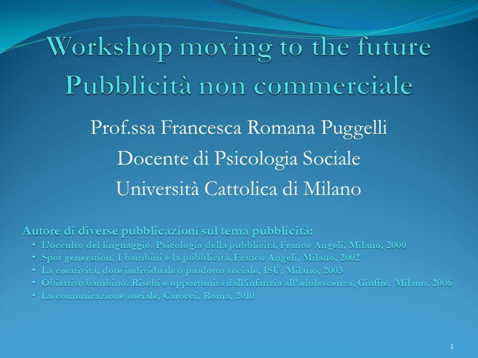 Prof.ssa Francesca Romana Puggelli Docente di Psicologia Sociale Università Cattolica di Milano Autore di diverse pubblicazioni sul tema pubblicità: L