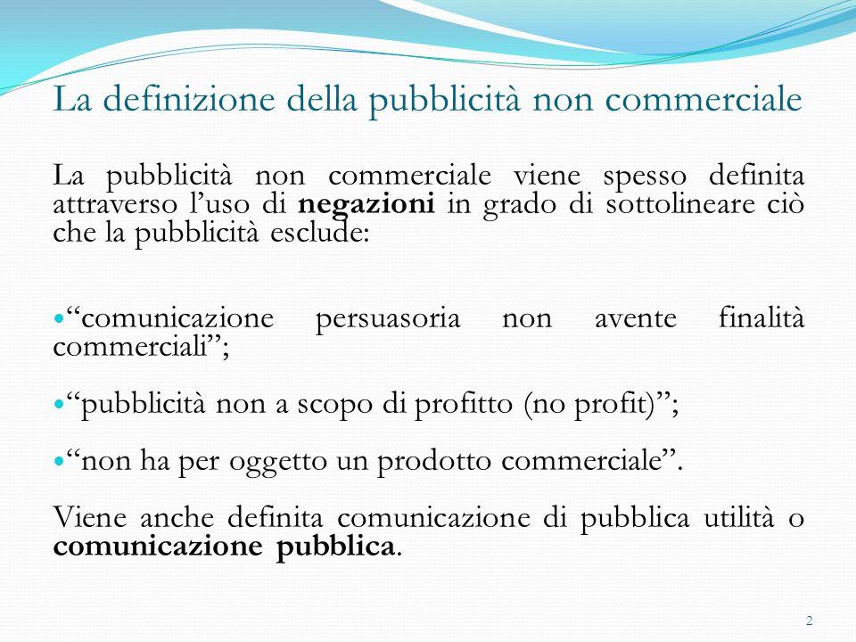La definizione della pubblicità non commerciale La pubblicità non commerciale viene spesso definita attraverso luso di negazioni in grado di sottoline