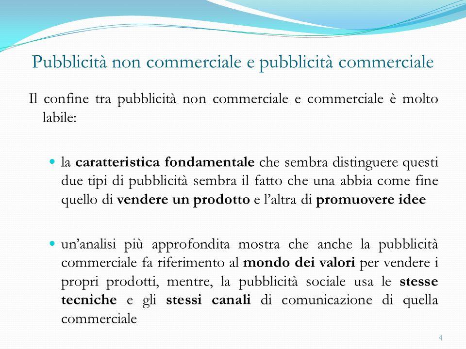 Pubblicità non commerciale e pubblicità commerciale Il confine tra pubblicità non commerciale e commerciale è molto labile: la caratteristica fondamen