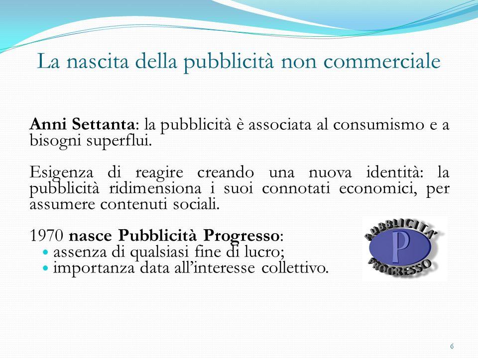 La nascita della pubblicità non commerciale Anni Settanta: la pubblicità è associata al consumismo e a bisogni superflui. Esigenza di reagire creando