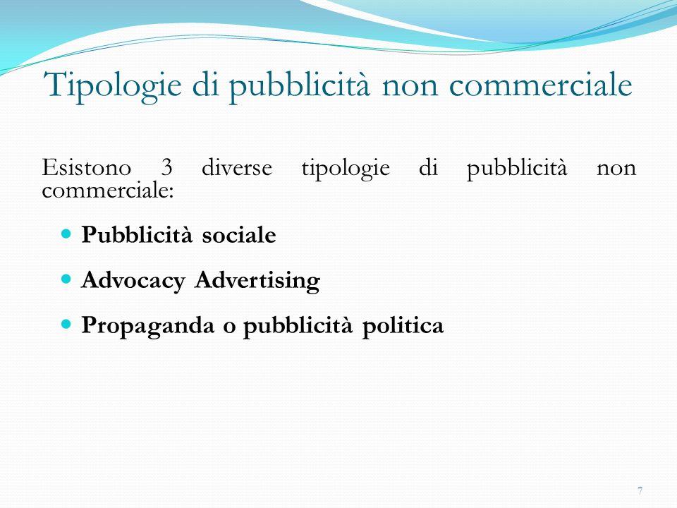 Tipologie di pubblicità non commerciale Esistono 3 diverse tipologie di pubblicità non commerciale: Pubblicità sociale Advocacy Advertising Propaganda