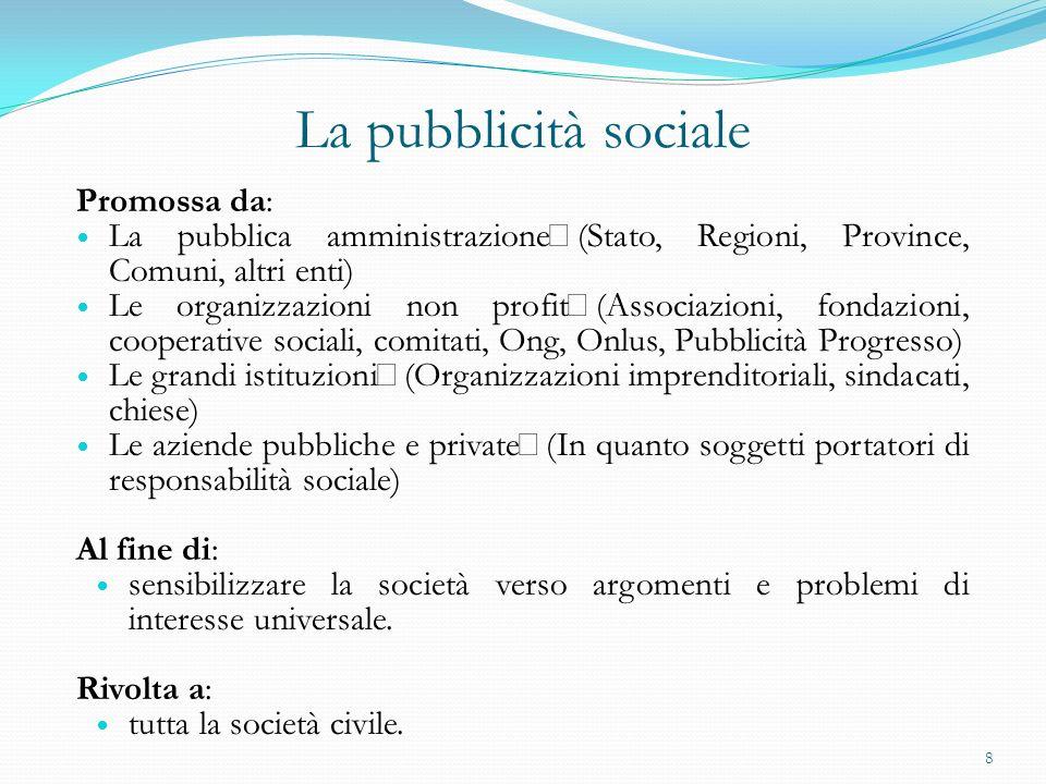 La pubblicità sociale Promossa da: La pubblica amministrazione (Stato, Regioni, Province, Comuni, altri enti) Le organizzazioni non profit (Associazio