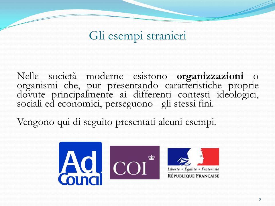 Ad Council (USA) Nato nel 1941, si pone come compito quello di creare messaggi sociali convincenti e tempestivi, producendo, distribuendo, promuovendo e valutando le campagne.
