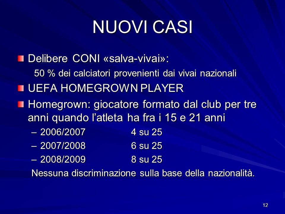 12 NUOVI CASI Delibere CONI «salva-vivai»: 50 % dei calciatori provenienti dai vivai nazionali 50 % dei calciatori provenienti dai vivai nazionali UEF