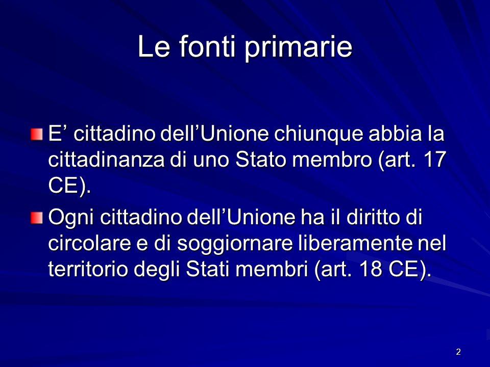 2 Le fonti primarie E cittadino dellUnione chiunque abbia la cittadinanza di uno Stato membro (art. 17 CE). Ogni cittadino dellUnione ha il diritto di