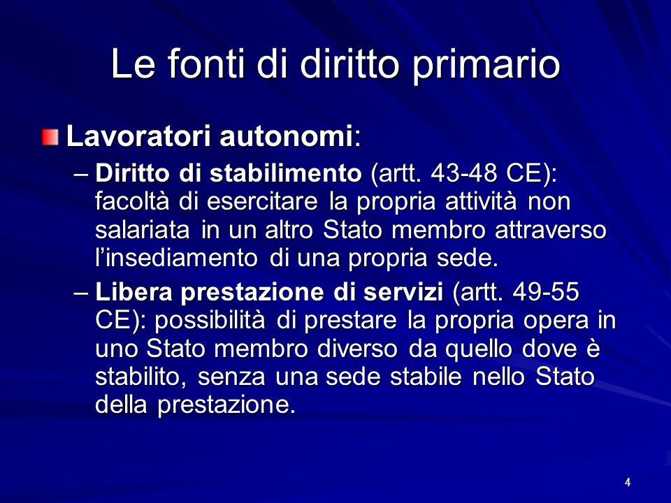 4 Le fonti di diritto primario Lavoratori autonomi: –Diritto di stabilimento (artt. 43-48 CE): facoltà di esercitare la propria attività non salariata
