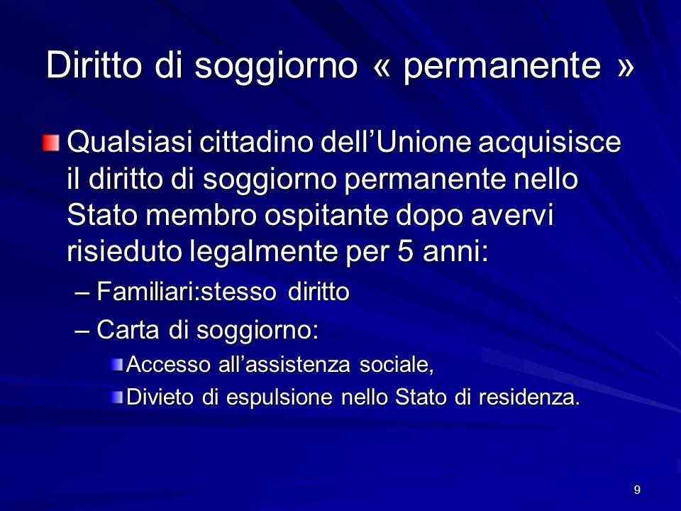 9 Diritto di soggiorno « permanente » Qualsiasi cittadino dellUnione acquisisce il diritto di soggiorno permanente nello Stato membro ospitante dopo a