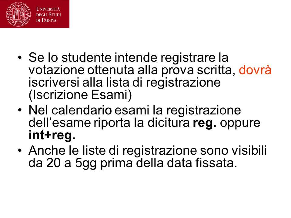 Se lo studente intende registrare la votazione ottenuta alla prova scritta, dovrà iscriversi alla lista di registrazione (Iscrizione Esami) Nel calend