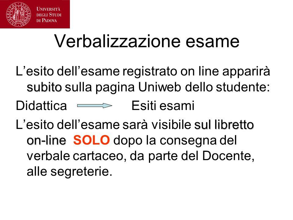 Verbalizzazione esame subito Lesito dellesame registrato on line apparirà subito sulla pagina Uniweb dello studente: Didattica Esiti esami sul librett