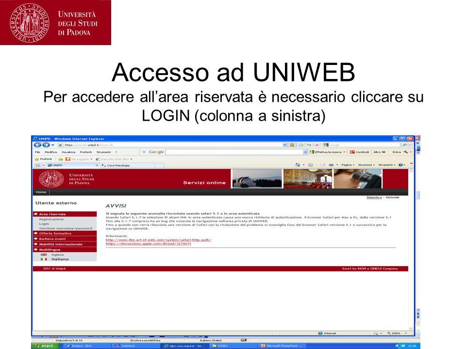 Accesso ad UNIWEB Per accedere allarea riservata è necessario cliccare su LOGIN (colonna a sinistra)