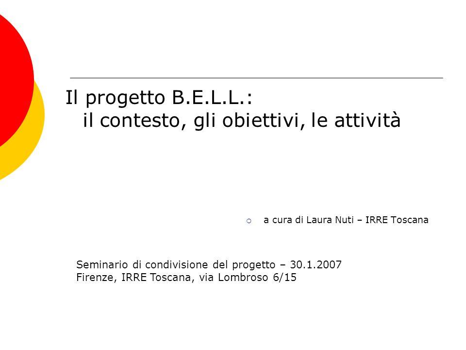 Il progetto B.E.L.L.: il contesto, gli obiettivi, le attività a cura di Laura Nuti – IRRE Toscana Seminario di condivisione del progetto – 30.1.2007 F
