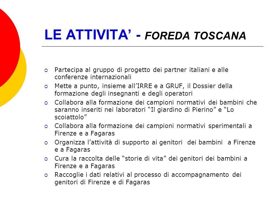 LE ATTIVITA - FOREDA TOSCANA Partecipa al gruppo di progetto dei partner italiani e alle conferenze internazionali Mette a punto, insieme allIRRE e a