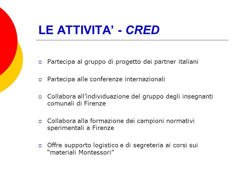 LE ATTIVITA - CRED Partecipa al gruppo di progetto dei partner italiani Partecipa alle conferenze internazionali Collabora allindividuazione del grupp