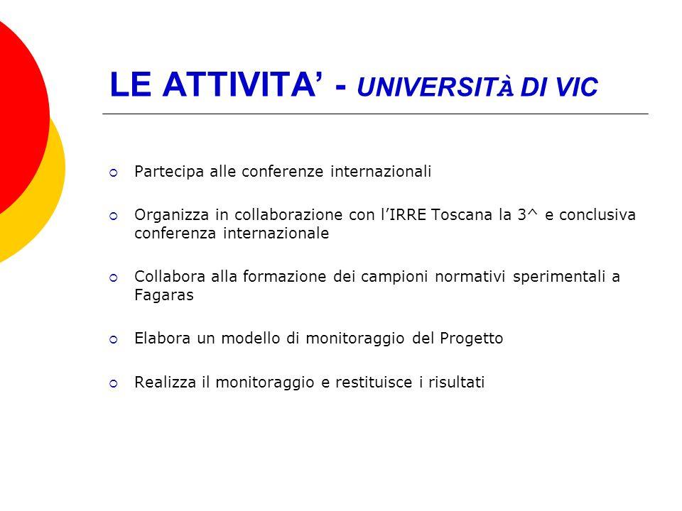 LE ATTIVITA - UNIVERSIT À DI VIC Partecipa alle conferenze internazionali Organizza in collaborazione con lIRRE Toscana la 3^ e conclusiva conferenza