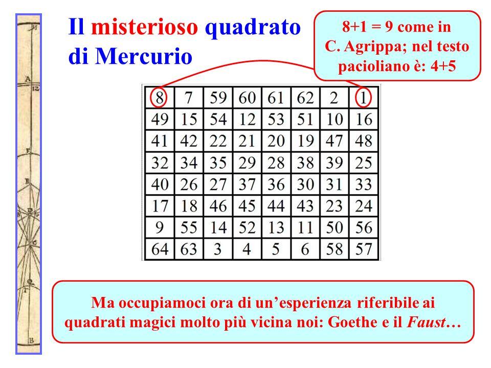 Il misterioso quadrato di Mercurio Esso coincide per le prime due righe con la traccia di Pacioli, eccezion fatta per il primo e per lultimo elemento
