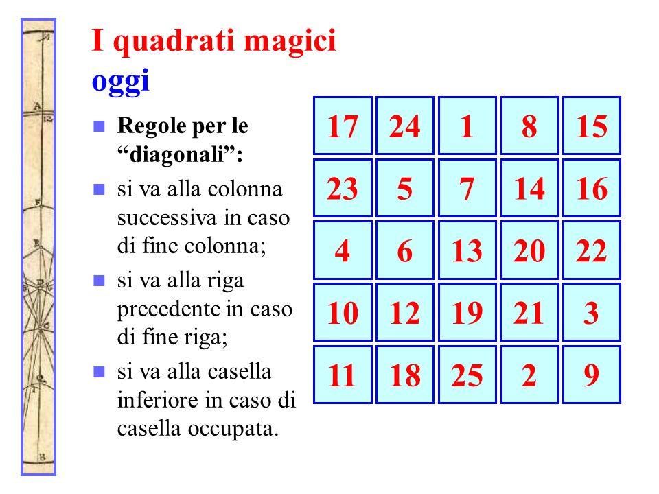 I quadrati magici oggi Regole per le diagonali: si va alla colonna successiva in caso di fine colonna; si va alla riga precedente in caso di fine riga